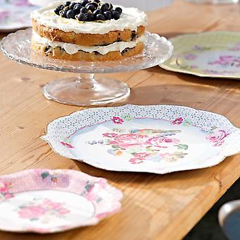 Vintage Floral Platter Plates   Large Paper Alice In Wonderland Tea Party x4