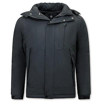 Sporty Windproof Winter Coat - Black