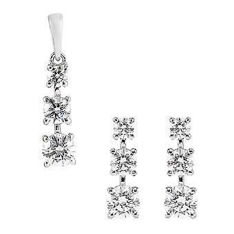 J Francis Three Stone Jewellery Set Womens Swarovski� Zirconia in Silver 3.08ct