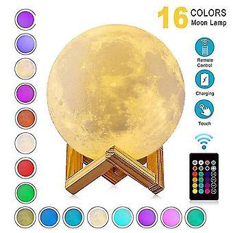 Zk20 led luz nocturna 3d imprimir lámpara de luna recargable cambio de color 3d luz táctil lámpara de luna