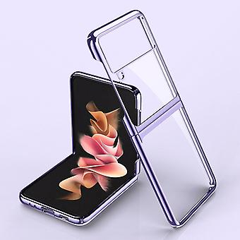 Etui do etui Samsung Galaxy Z Flip 3 Ultra-cienkie electroplate Transparent Full Protection Pc Etui Coque Cover - Fioletowy