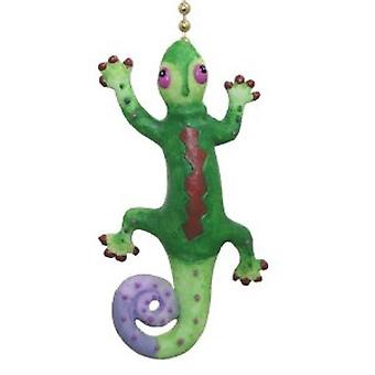 Trooppinen Gecko vihreä ja violetti lisko tuuletin kevyt vetää