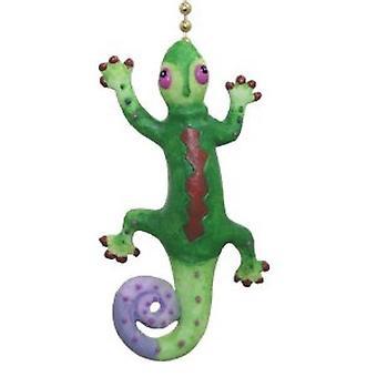 Tropical Gecko Green and Purple Lizard Fan Light Pull