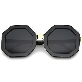 Pont de nez de métal rétro octogone forme lunettes de soleil Oversize 53mm