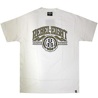 U Rebel8 de t-shirt branca do 8 homens