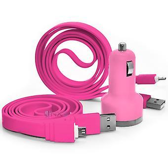 ZTE Warp 7 Baby Pink 2 Port Auto Ladegerät und 2 Datenkabel