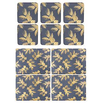 Sara Miller etset blader marinen Placemats og Coasters sett