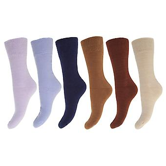 FLOSO Ladies/Womens Premium Quality Multipack Thermal Socks, Double Brushed Inside (Pack Of 6)