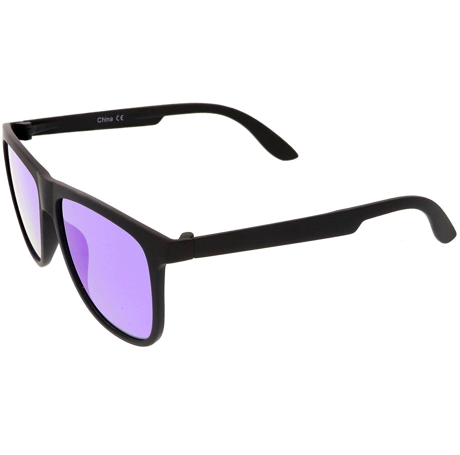 Klassiska Horn kantad solglasögon med fyrkantig färg spegel platt lins 56mm