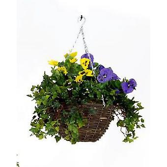 Artificial Silk Pansy Hanging Basket