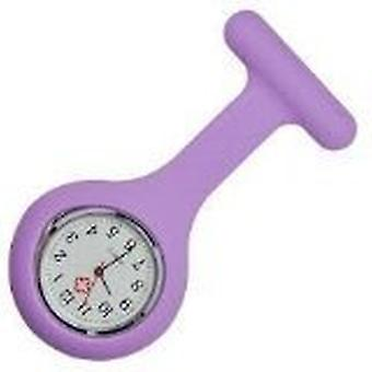 Silicone Nurses Brooch Tunic Fob Watch New With FREE BATTERY (11 - Light Purple)
