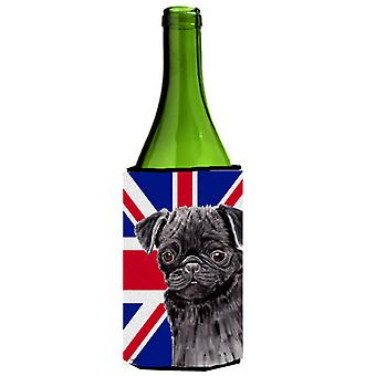 Pug con inglese Union Jack bandiera britannica bottiglia di vino bevanda isolante Hugger