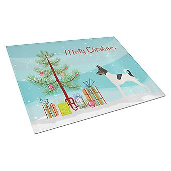 American Toy Fox Terrier Christmas Glass Cutting Board Large