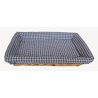 Blue Checked Lined Flat Rectangular Wicker Tray