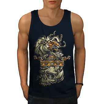 Lion Head King Dead Men NavyTank Top | Wellcoda