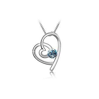 Himmelsblå Womens flickor Silver kärlek hjärtat smycken halsband BGCW51