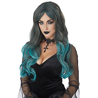 Color Bleed Blended Brunette Teal Gothic Witch Vampire Punk Womens Costume Wig