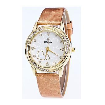 Classy Yellow Gold Heart Beige Watch Love Clear Time Elegant