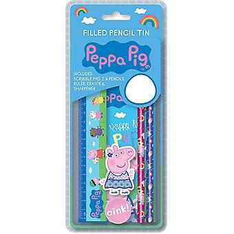 Peppa Pig Girls Filled 6pc Stationery Tin Pencil Case