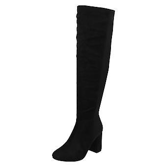 Ladies Spot On Block Heel Wide Leg Knee High Boots F50870