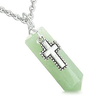 Amulet Crystal Point Holy Cross Charm Green Aventurine Spiritual Positive Pendant Necklace