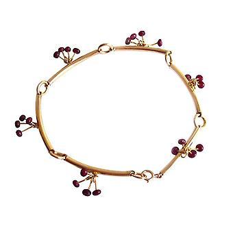 Gemshine - senhoras - pulseira - vermelho - rubi - banhado a ouro