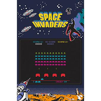 SPACE INVADERS Siebdruck Plakat Poster