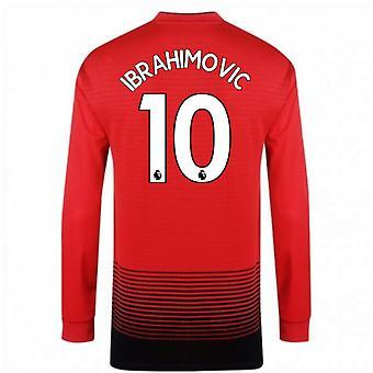 2018-2019 man Utd Adidas hjem langermet skjorte (Ibrahimovic 10) - barn