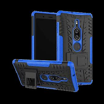 Hybrid case 2 stuk SWL robot blauw voor Sony Xperia XZ2 premie zakje mouw cover bescherming
