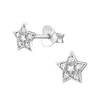 Star - 925 Sterling Silver Cubic Zirconia Ear Studs - W26028X