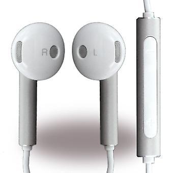 Huawei Bulk Am116 Headset Ohrhörer mit Fernbedienung, Mikrofon weiss/silber für Smartphone
