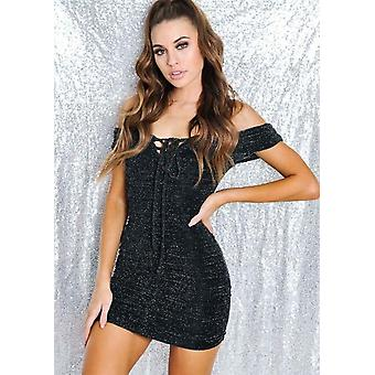 Glitter Bardot increspato Bodycon Mini abito nero