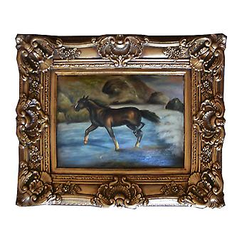 Horses, oil painting with frame, inner dimensions 30x40 cm