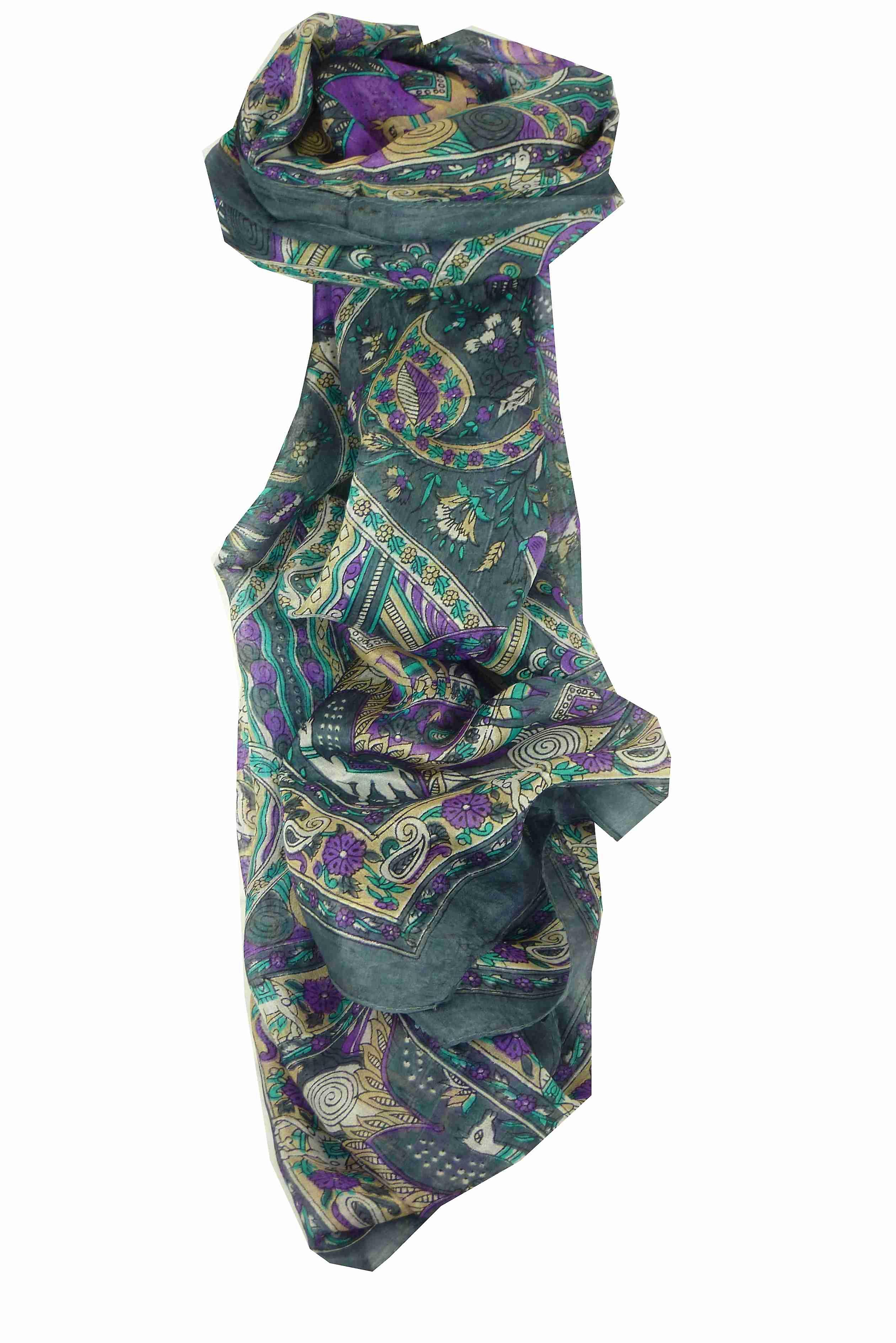 Mulberry Silk Traditional Long Scarf Lina Grey by Pashmina & Silk