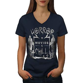 Horror Gothic Reaper Women NavyV-Neck T-shirt | Wellcoda