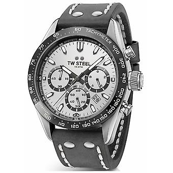 TW Steel | Gents donker grijs leerriem | Silver Dial | CHS3 Watch