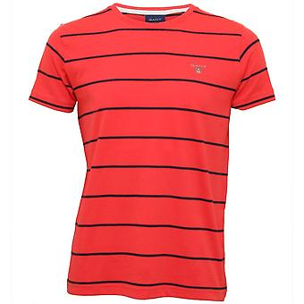 GANT Breton Stripe Crew-Neck T-paita, Vesimeloni Punainen