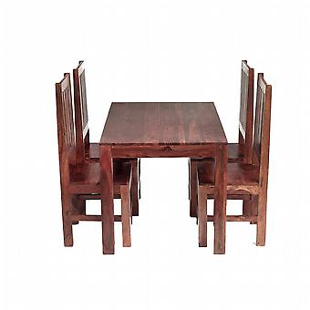 Oslo Sheesham 4 Seater Dining Set With Wooden Chairs