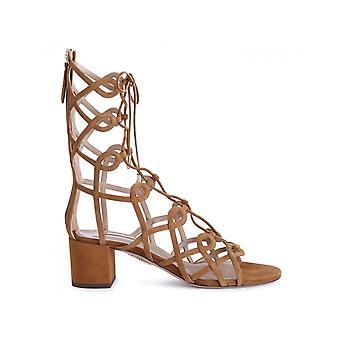 Aquazzura Mummids0sue Women's Brown Suede Sandals