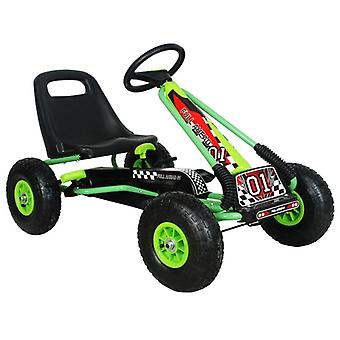 RideonToys4u Full Ahead Kids Pedal Go Kart With Air Wheels Green