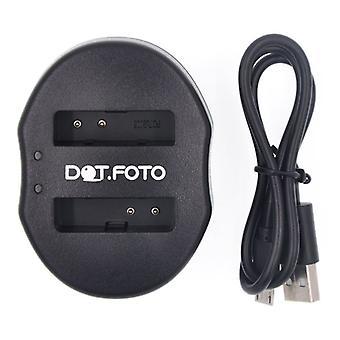 富士フイルムの FinePix F20、F40 fd、F45fd、F47fd 用 Dot.Foto 富士フイルム NP 70 デュアル USB バッテリー充電器