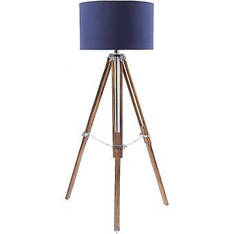 Libra möbler naturligt trä och nickel stativ golv lampa med marinblå nyans