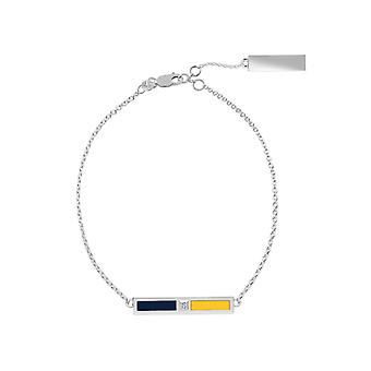 Murray State University Sterling Silver Diamond Bar Chain Bracelet In Blue and Yellow