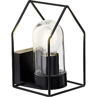 Strålende lampe hjem udvendig væglampe sort/transparent