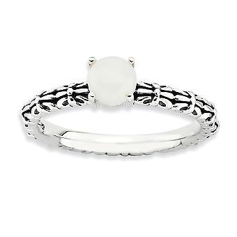 2,5mm 925 sterling sølv polert pinne sett stackable uttrykk hvit agate ring smykker gaver til kvinner - ring størrelse: