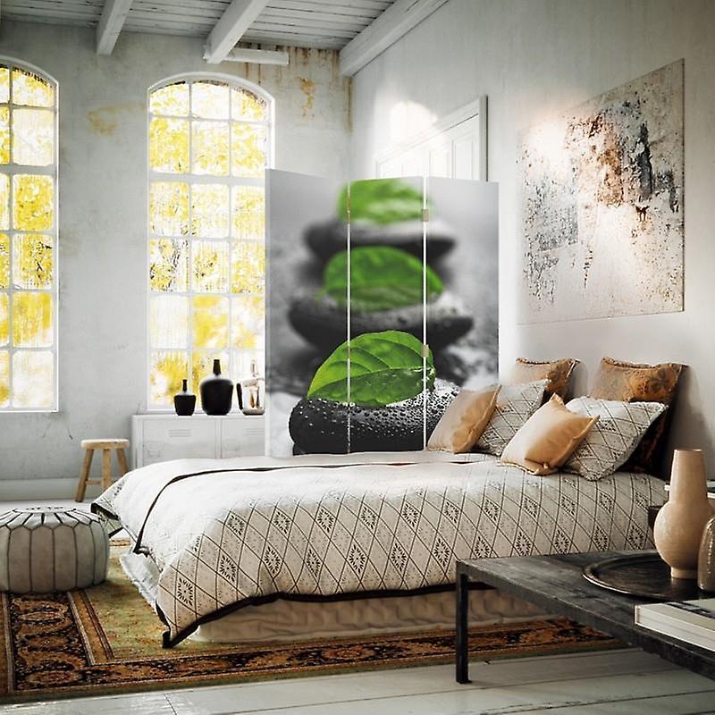 Diviseur de chambre, 3 panneaux, à un seul côté, toile, pierres 2