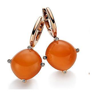 Boucles d'oreilles Gemstone Diamants 0.04 ct. Pierre de lune 20.22 ct.