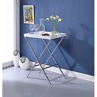 Stylish Tray Table, White & Chrome