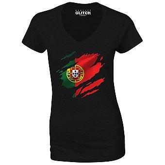 Realiteit glitch gescheurd Portugal vlag Womens t-shirt-v-hals
