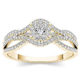 Igi المعتمدة 10k الذهب الأصفر 0.50 ct الماس الطبيعي هالة خاتم الخطوبة